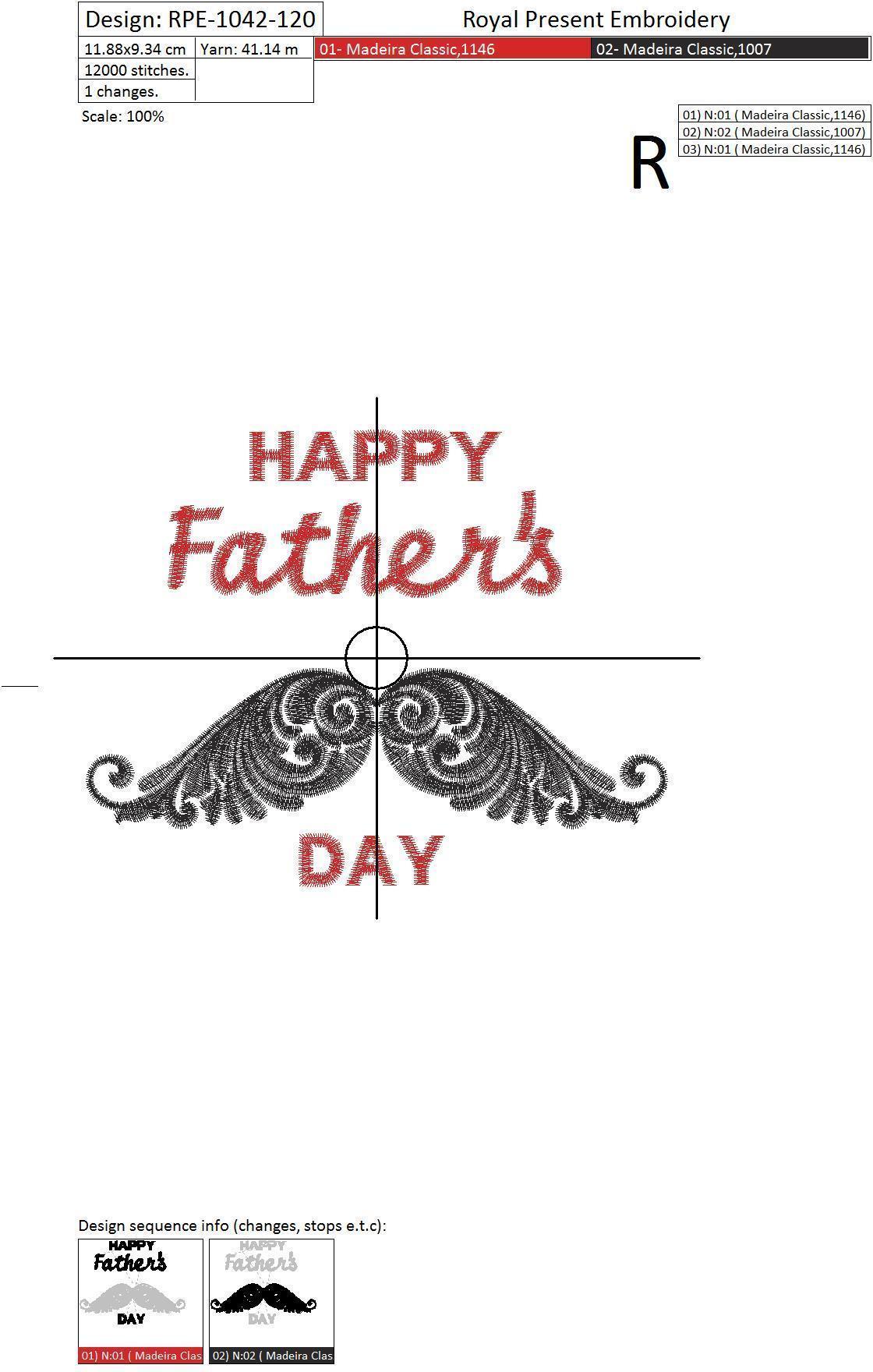 Бесплатный Дизайн машинной вышивки День отца - 4 размера