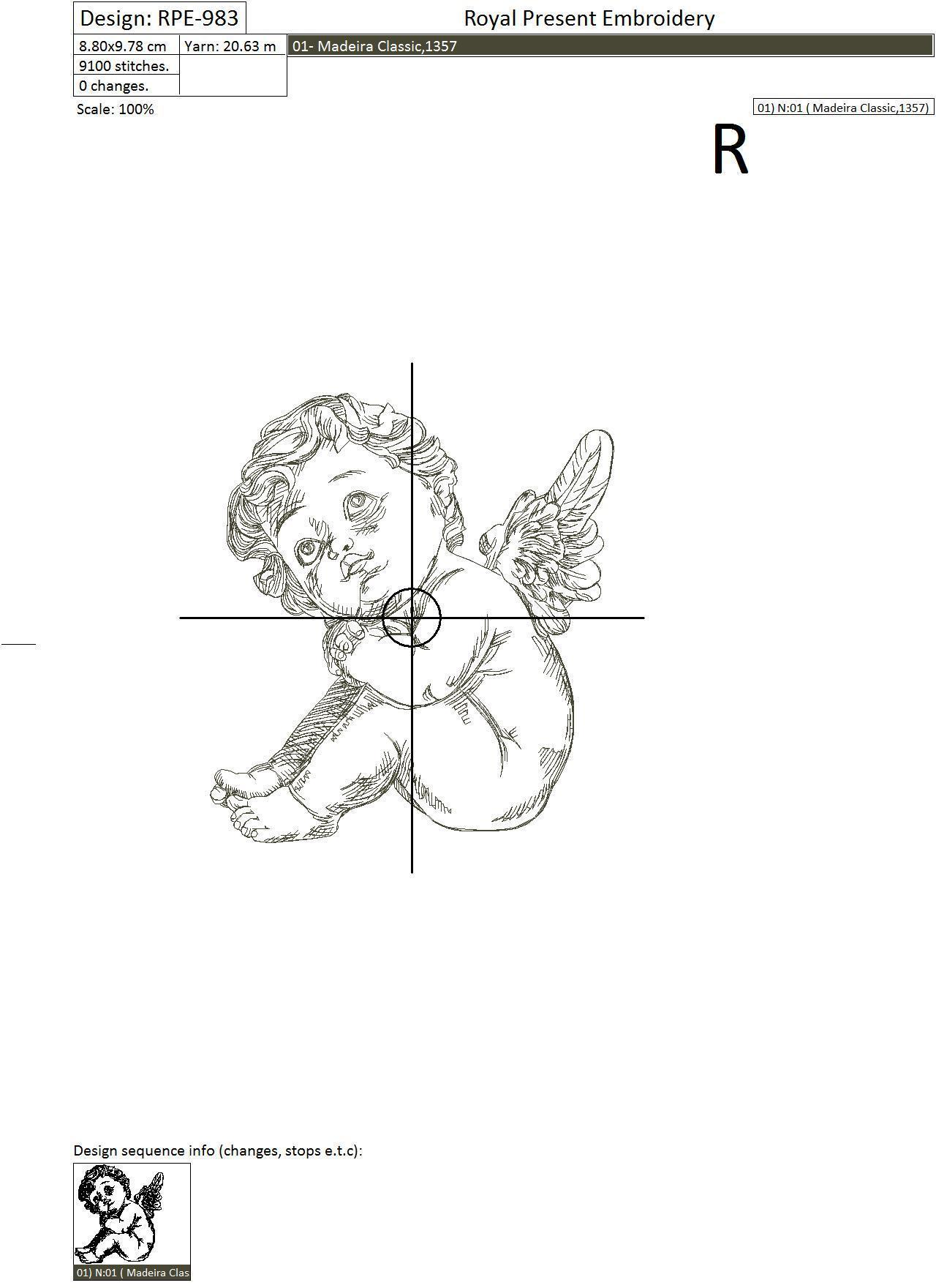 Дизайн машинной вышивки Ангелочек