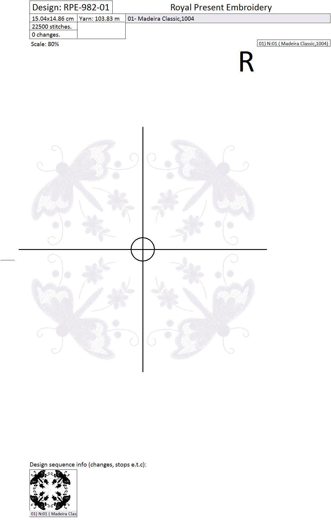 Дизайн для вышивки свадебной подушечки для колец Фантазийные бабочки