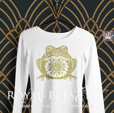 Дизайн машинной вышивки Орнаментальная Лягушка - 5 размеров