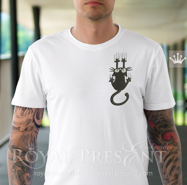 Дизайн машинной вышивки Черный Кот - 2 размера PRE-1718
