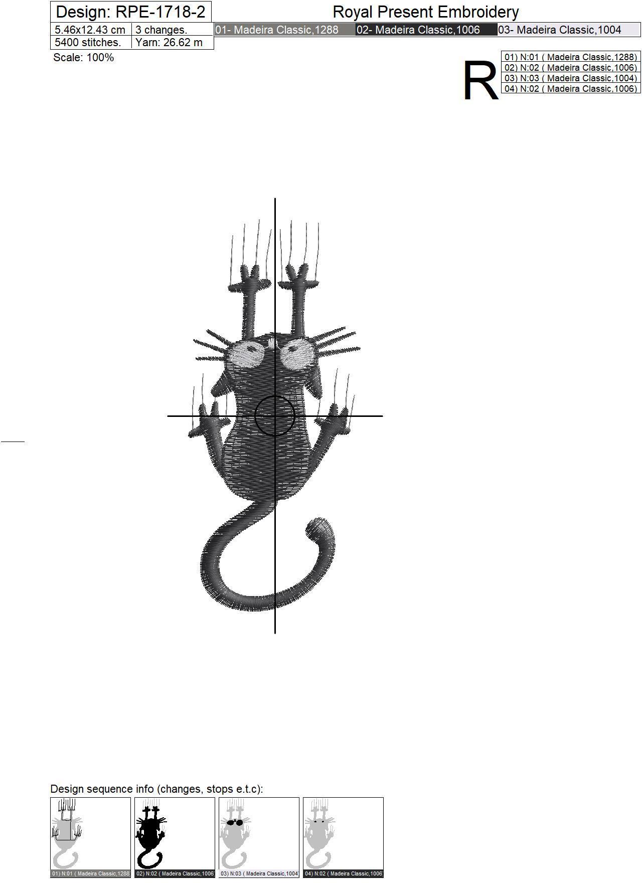 Дизайн машинной вышивки Черный Кот - 2 размера