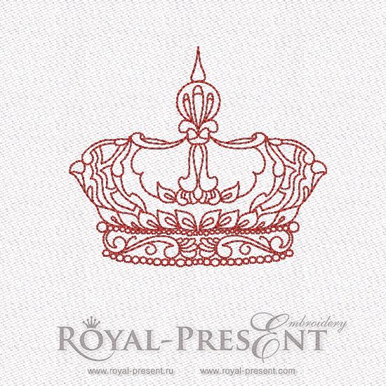 Дизайн машинной вышивки бесплатно в стиле REDWORK Корона