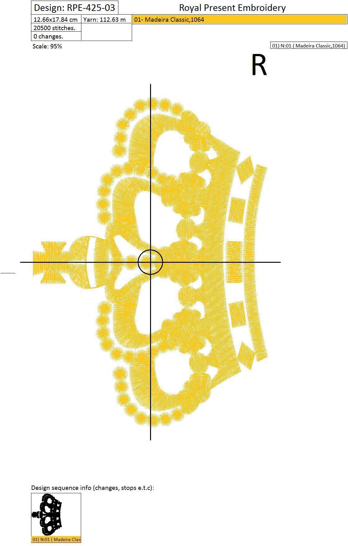Дизайн машинной вышивки Корона - 3 размера