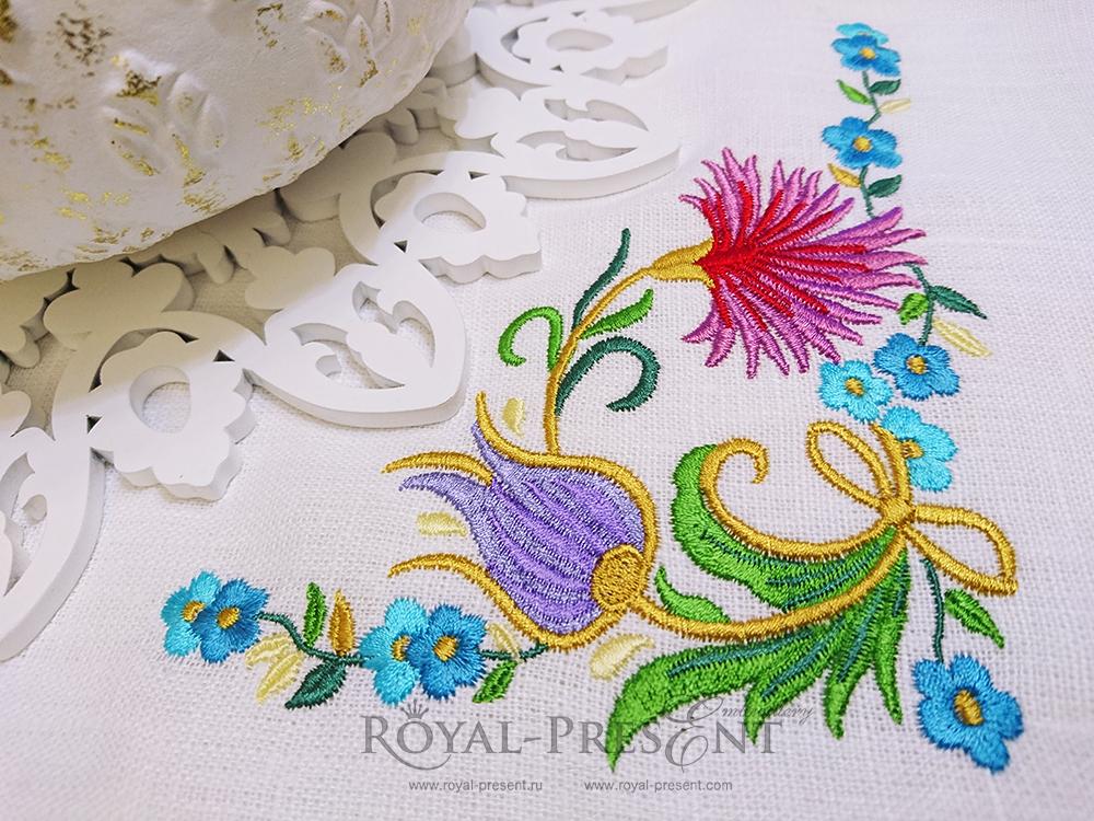 Дизайн машинной вышивки Восточный угловой орнамент - 3 размера