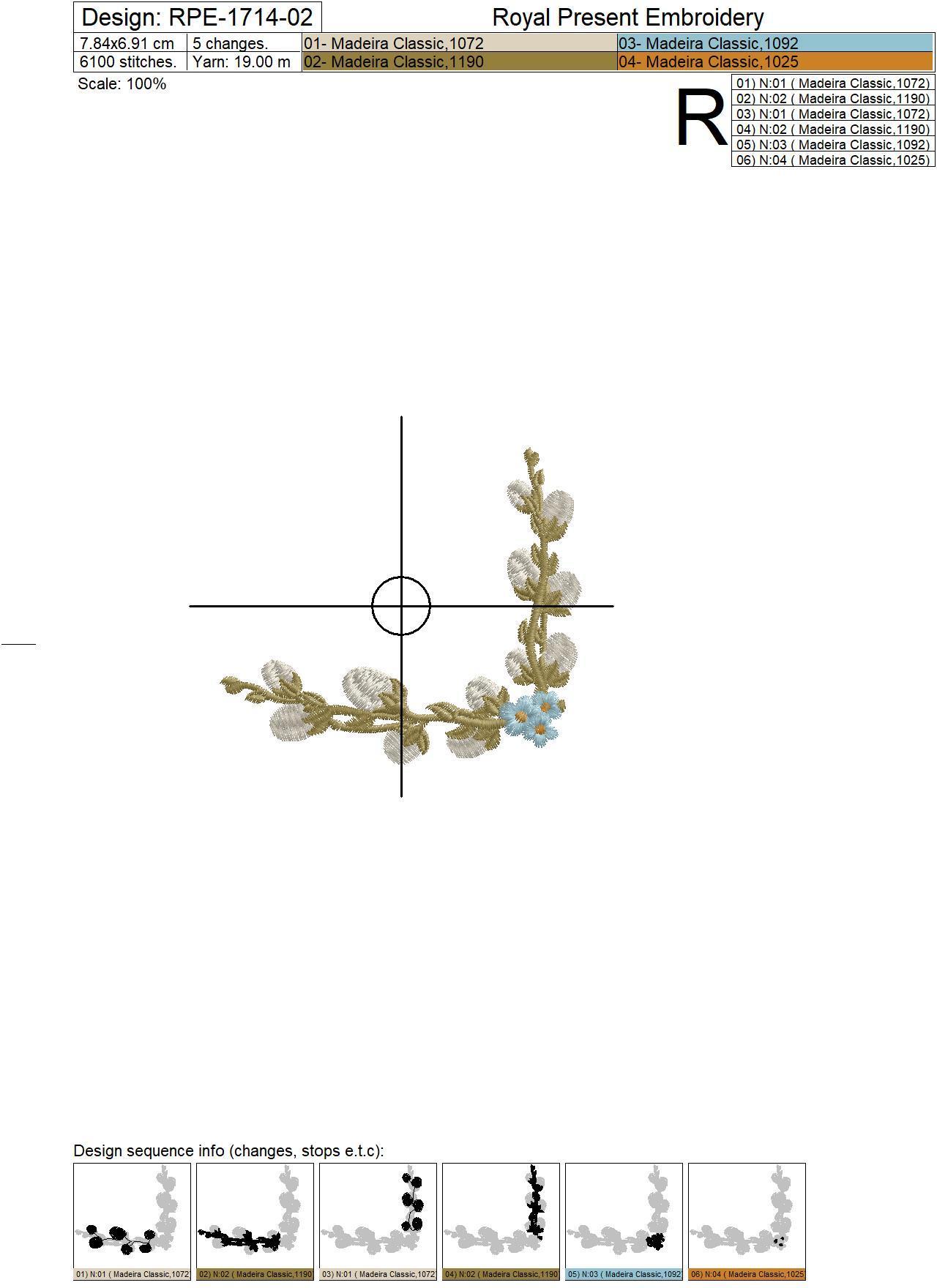 Дизайн машинной вышивки Уголок из вербы и незабудок - 3 размера