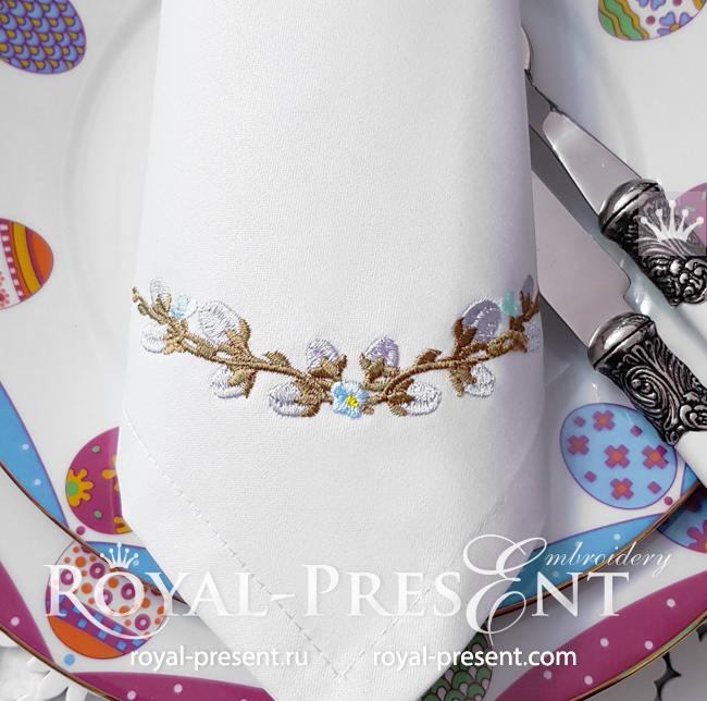 Дизайн машинной вышивки Веточка из вербы и незабудок - 3 размера RPE-1714-2