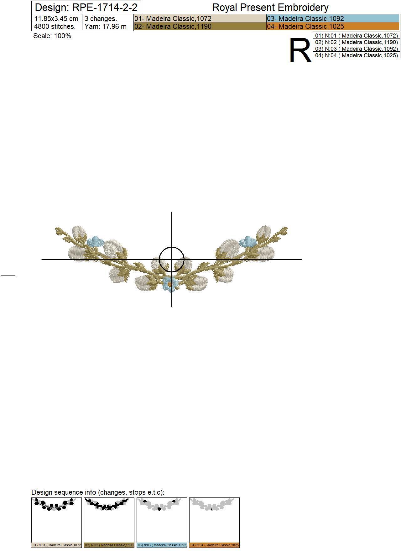 Дизайн машинной вышивки Веточка из вербы и незабудок - 3 размера