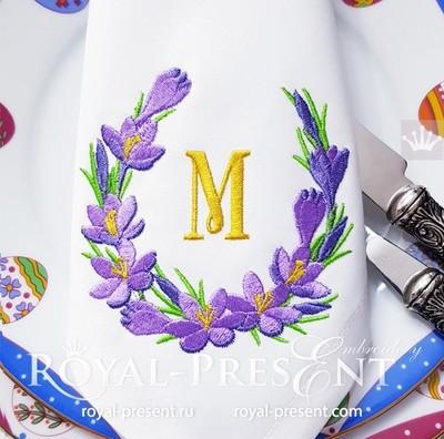 Дизайн машинной вышивки Крокусы венок для монограммы - 4 размера