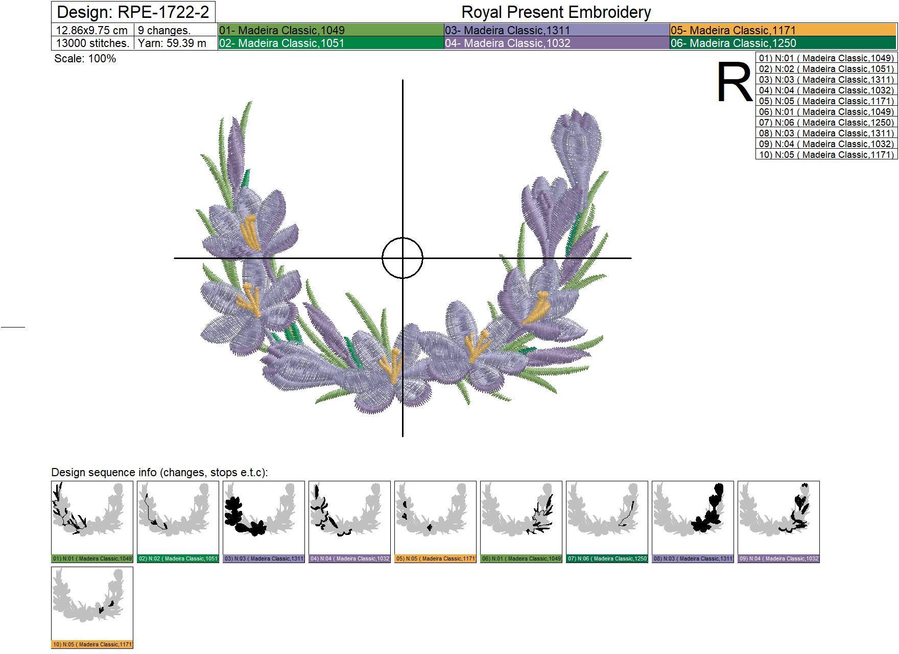 Дизайн машинной вышивки Крокусы виньетка - 3 размера