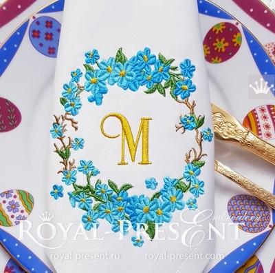 Дизайн машинной вышивки Обрамление из незабудок - 4 размера