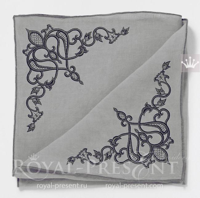 Угловой орнамент с восточными нотками для машинной вышивки - 5 размеров