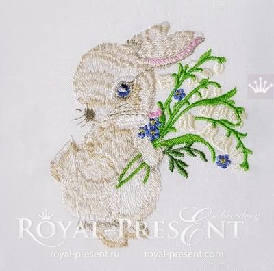 Дизайн вышивки Пасхальный Кролик с ландышами - 2 размера