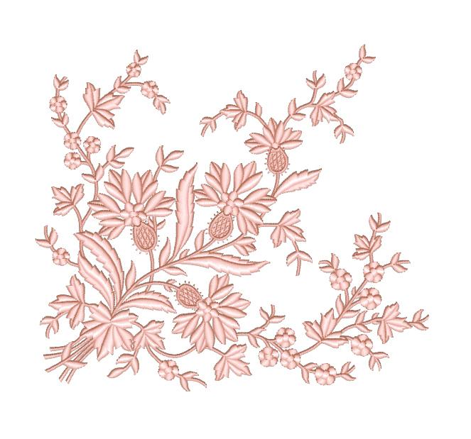 Дизайн машинной вышивки Элегантный угловой декор с васильками - 2 размера