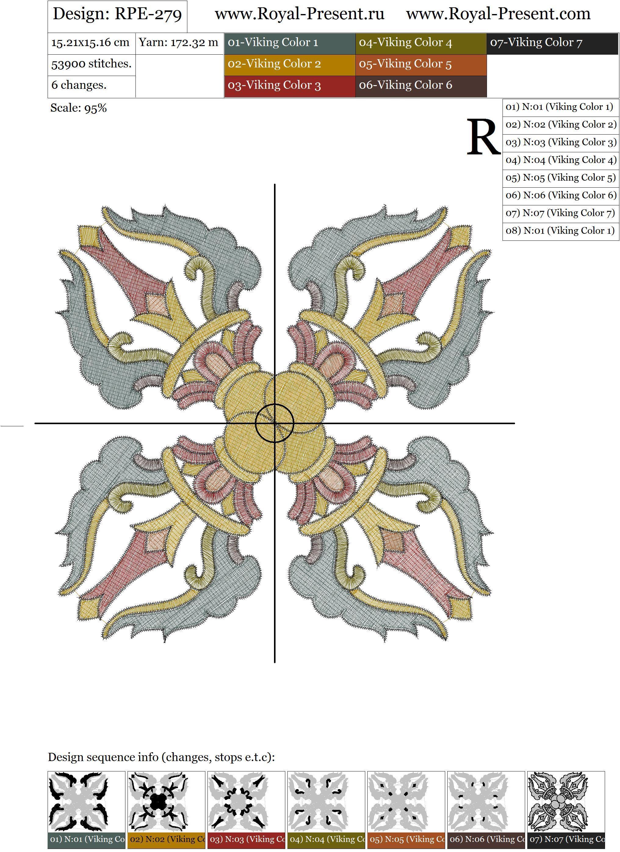 Дизайн для машинной вышивки Тибетский орнамент Ваджра