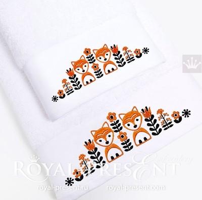 Дизайн машинной вышивки Скандинавский узор с лисами - 3 размера