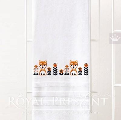 Дизайн машинной вышивки Скандинавский бордюр с лисами - 2 размера