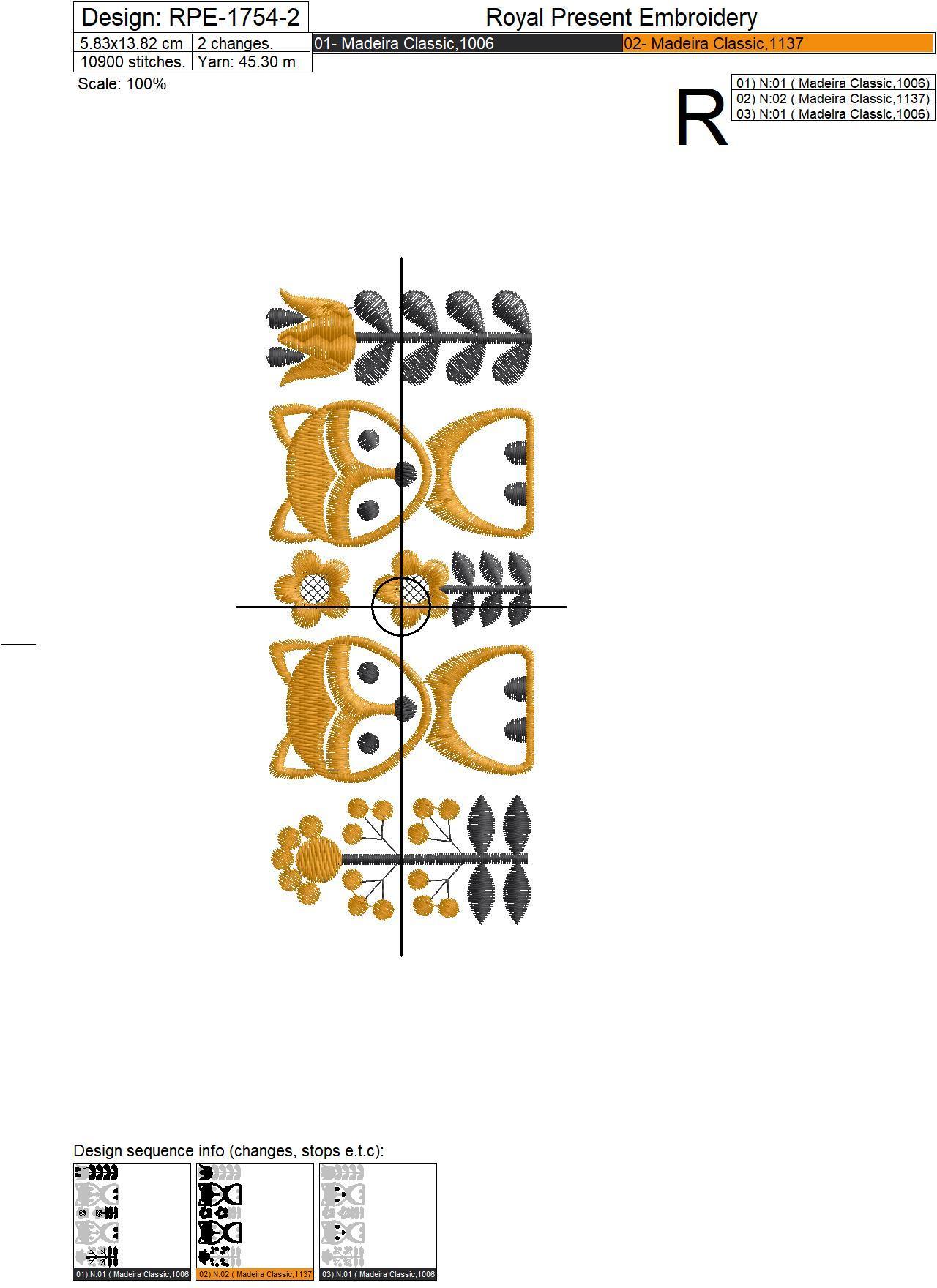 Дизайн машинной вышивки Скандинавский узор с лисичками - 2 размера