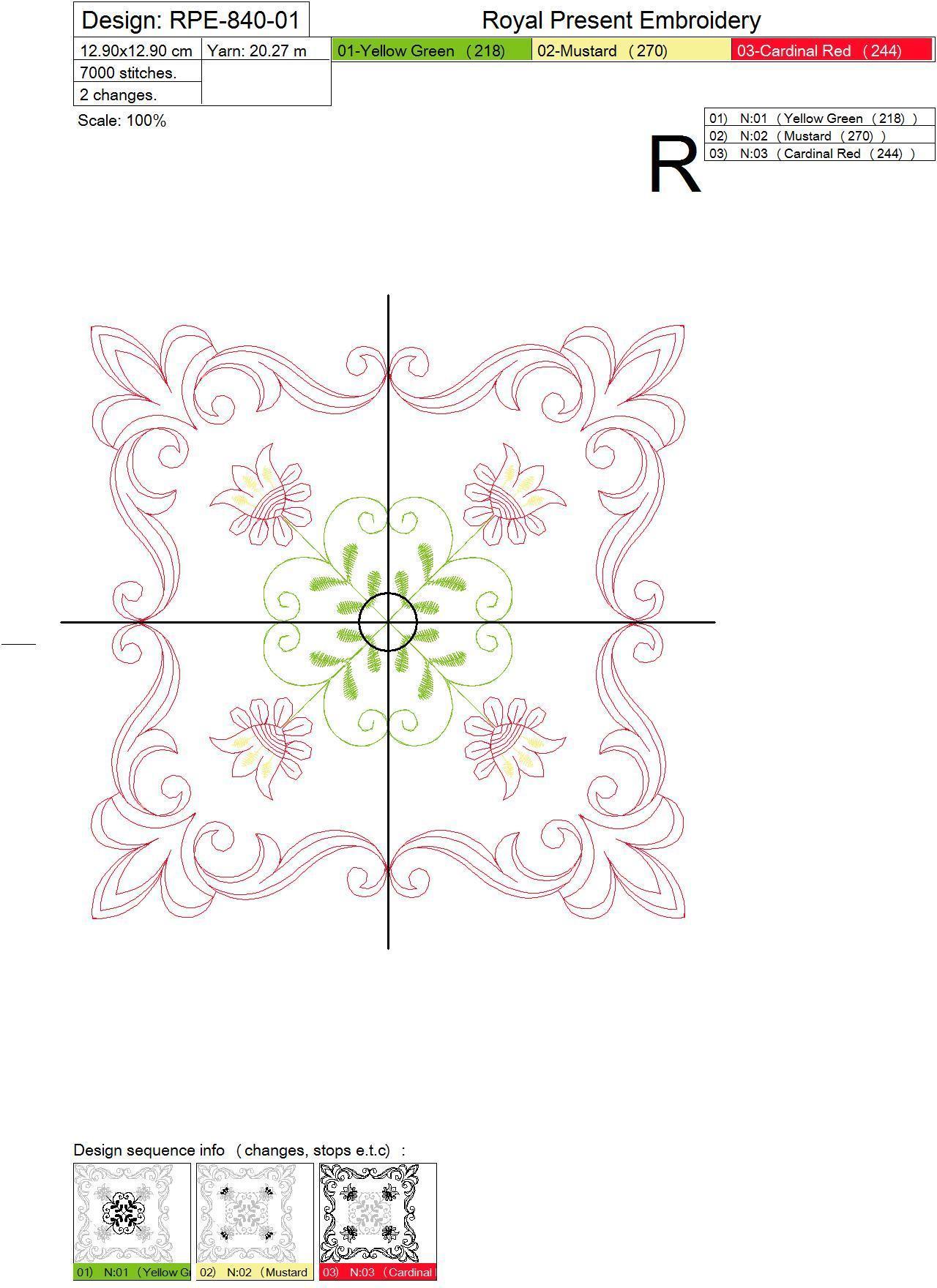 Дизайн машинной вышивки для квилта Цветочный мотив #2