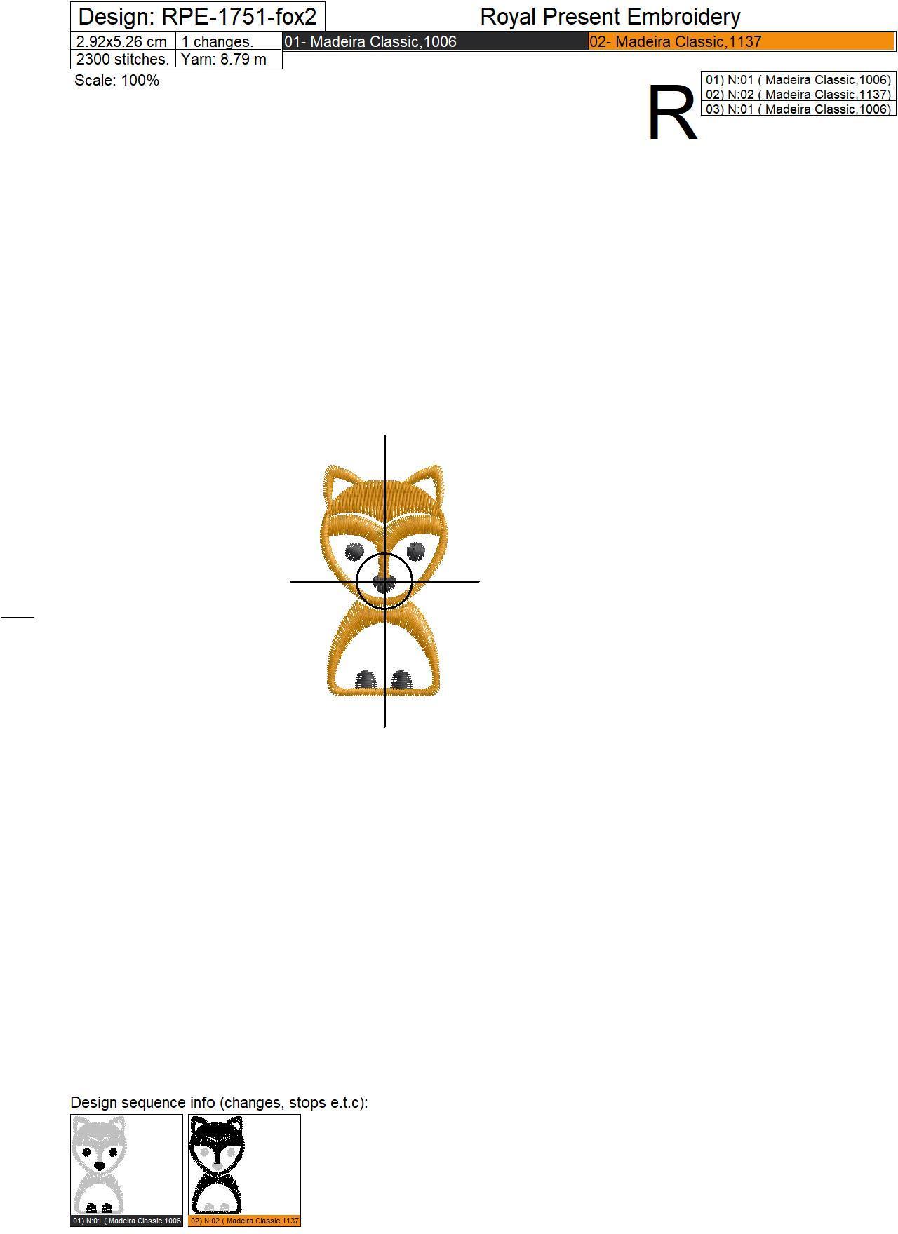 Дизайн машинной вышивки Рамка с лисичкой - 3 в 1