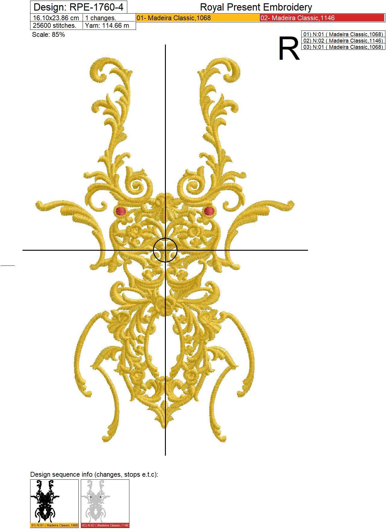 Дизайн машинной вышивки Жук в стиле Версаче - 6 размеров