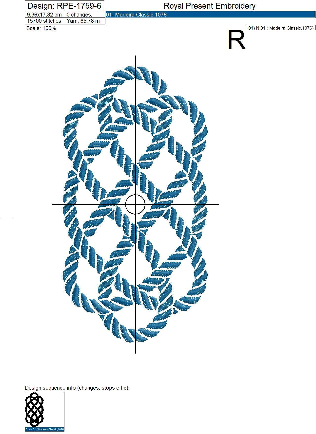 Дизайн машинной вышивки Морской узел из каната - 8 размеров
