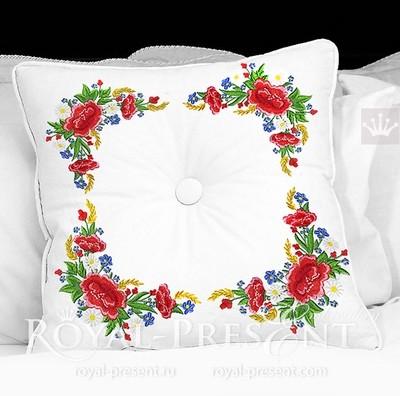 Дизайн машинной вышивки Угловой Букет маки и колоски - 3 размера