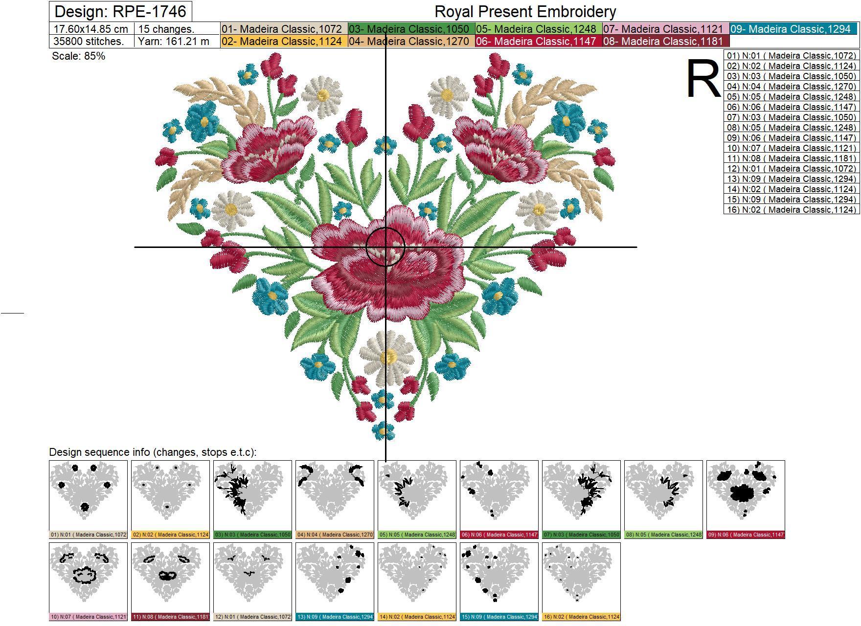 Дизайн машинной вышивки Сердце маки и колоски - 4 размера