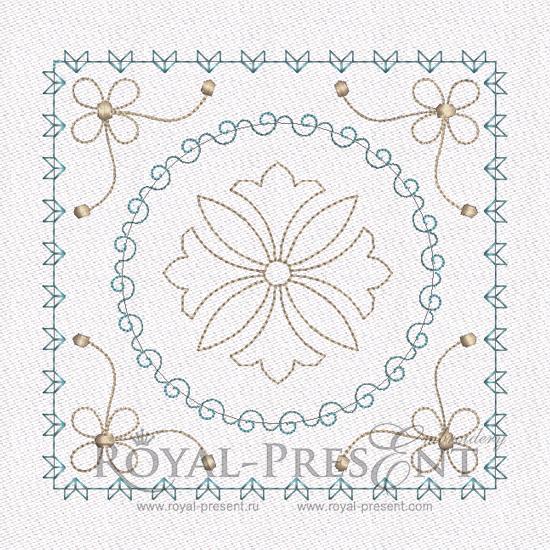 Дизайн машинной вышивки - Геометрический орнамент для квилта #9