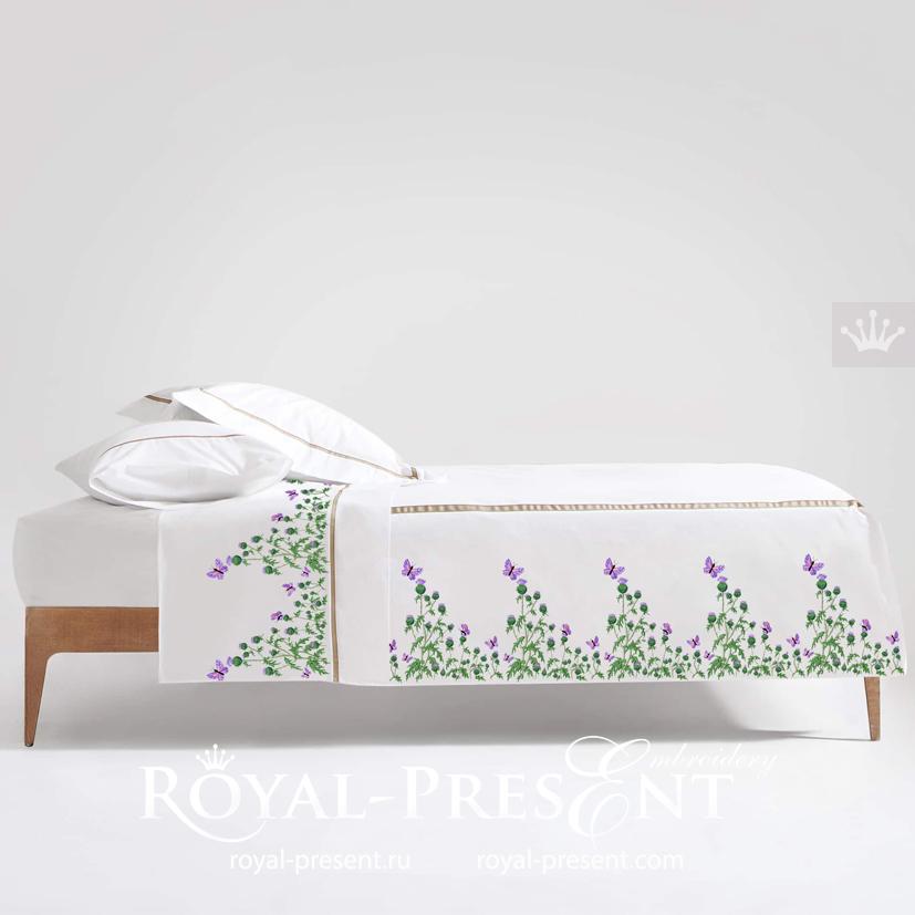 Дизайн машинной вышивки Репейник с бабочками - 3 размера