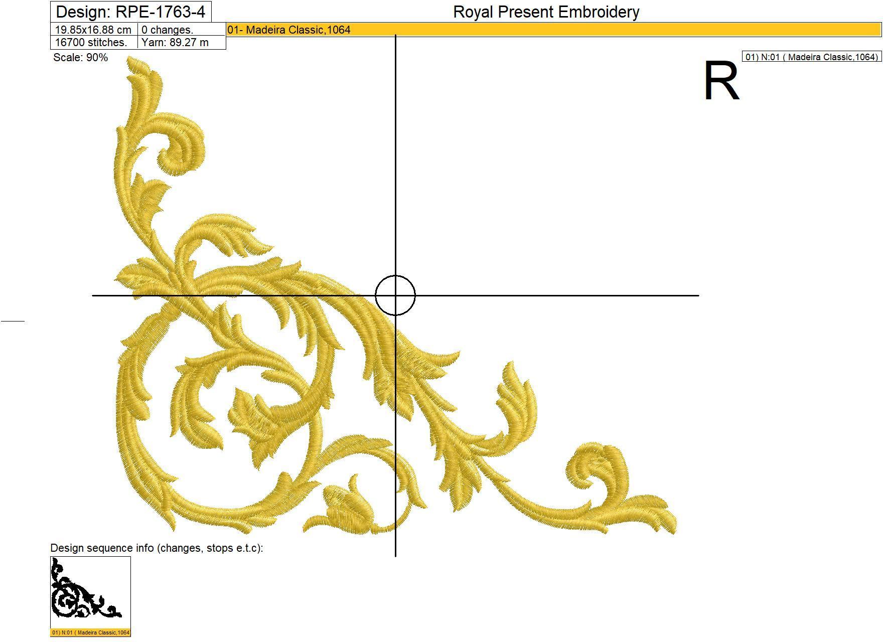 Дизайн машинной вышивки Угловой Орнамент Дамаск - 6 размеров