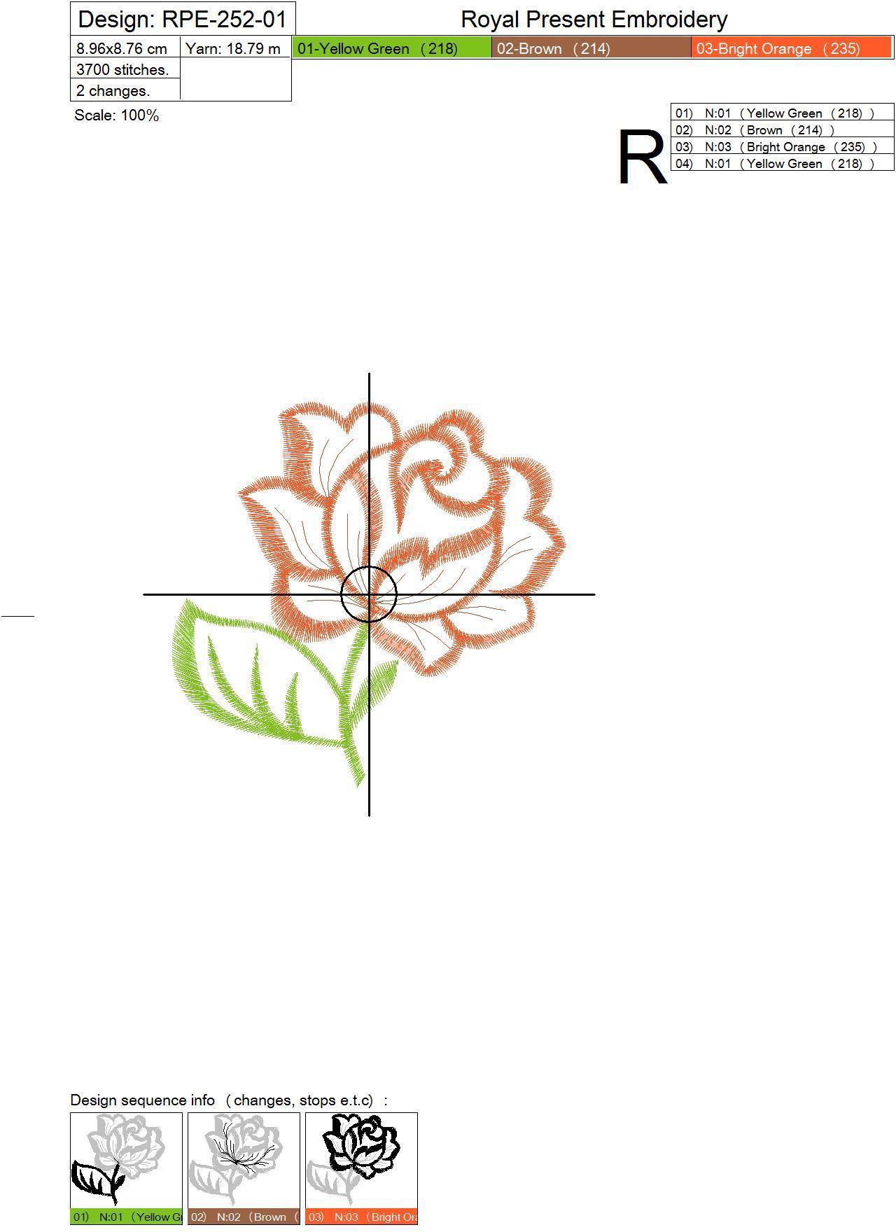 Дизайн машинной вышивки бесплатно Роза