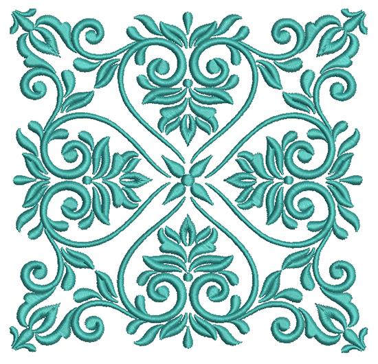 Классический растительный орнамент Дизайн машинной вышивки - 3 размера