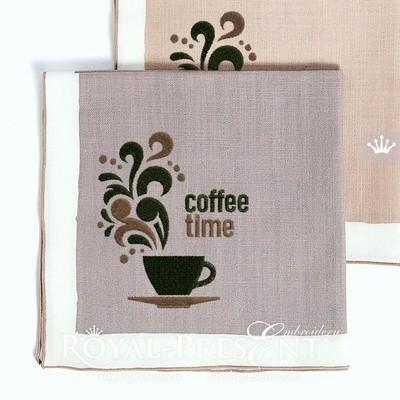 Дизайн машинной вышивки Чашка Кофе - 3 размера
