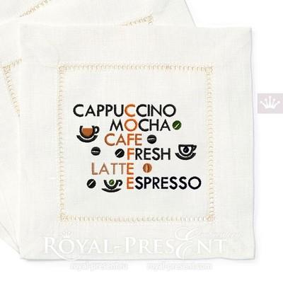 Дизайн машинной вышивки Кофейный кроссворд - 3 размера