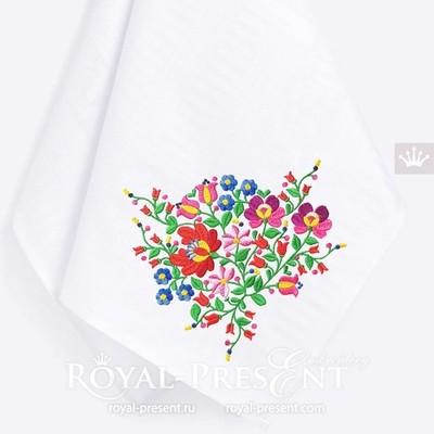 Венгерский угловой дизайн машинной вышивки с цветами - 2 размера