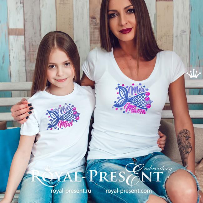 Дизайны машинной вышивки Русалка мама и дочка - 2 размера
