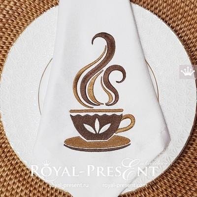 Чашка Кофе Дизайн машинной вышивки