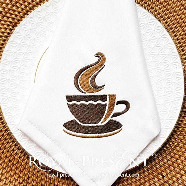 Стилизованная чашка Дизайн машинной вышивки