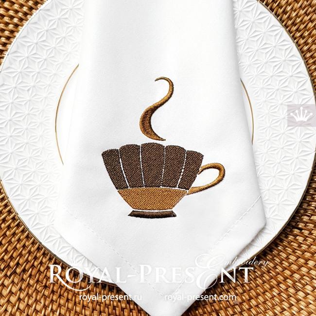 Кофейная чашка Дизайн машинной вышивки