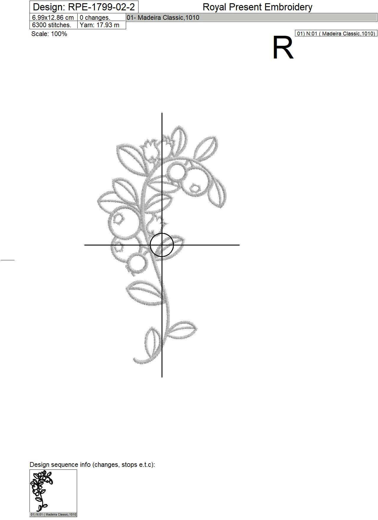 Дизайны машинной вышивки Рамка с черникой - 2 размера