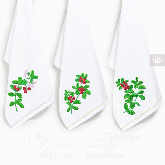 Дизайны машинной вышивки Веточки брусники - 3 размера