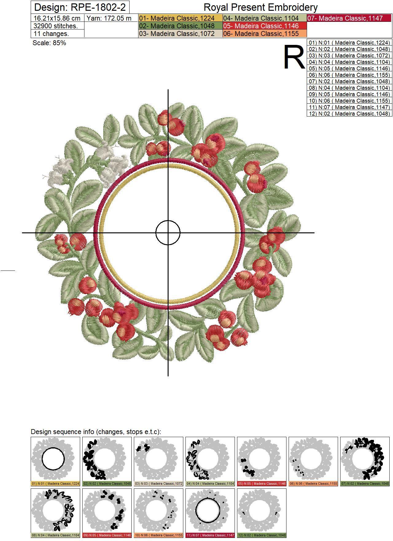 Дизайн машинной вышивки Рамка для монограммы Брусника - 4 размера