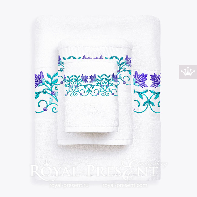Дизайн машинной вышивки Восточные цветы бордюр - 3 размера