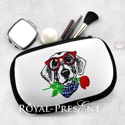 Дизайн машинной вышивки Собака с розой - 4 размера