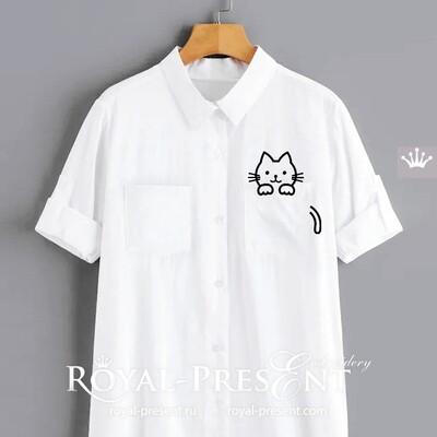 Дизайн машинной вышивки Котенок в кармашке