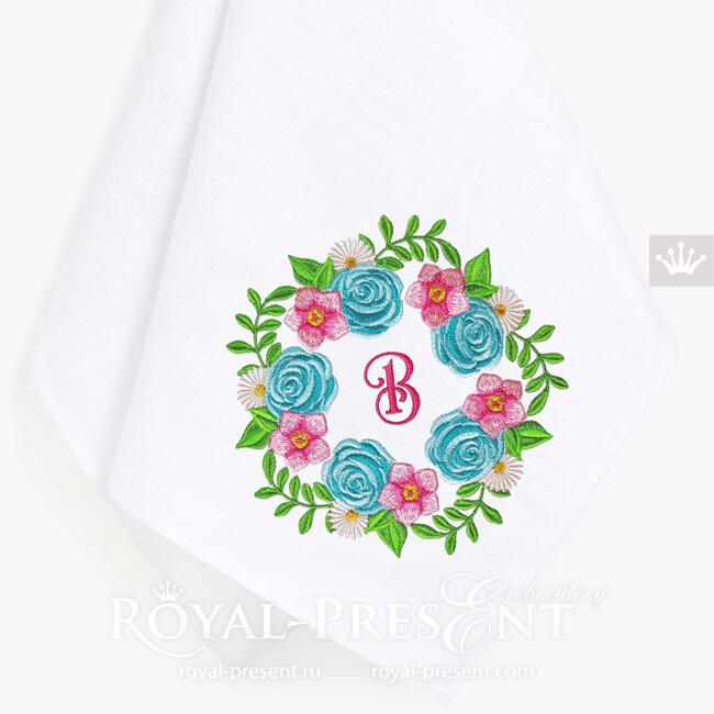Дизайн машинной вышивки Венок из цветов с розами - 2 размера