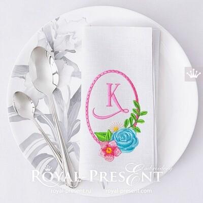 Дизайн машинной вышивки Рамка из цветов с розами - 2 размера