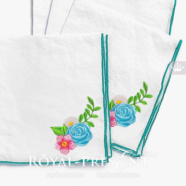 Дизайн машинной вышивки Маленький букетик цветов - 2 размера