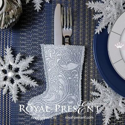 Дизайн машинной вышивки Новогодний Носок для приборов